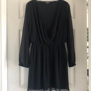 NWOT Express black deep v dress